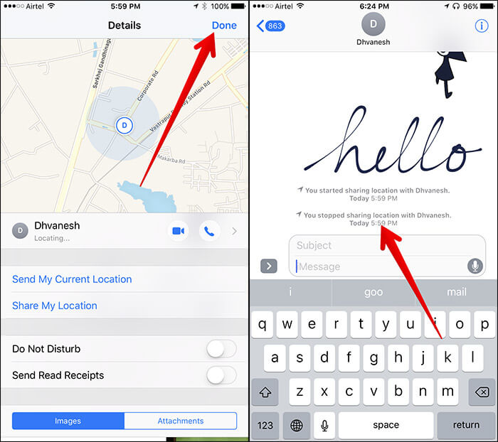 Turn Off Location Sharing in iMessage