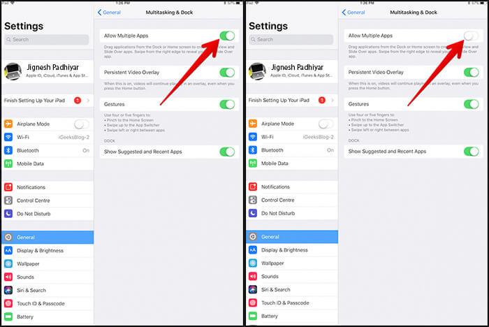 Turn Off Mutitasking in iOS 11 on iPad