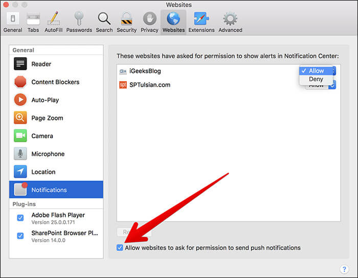 Turn Off Notifications for Website in Safari on Mac