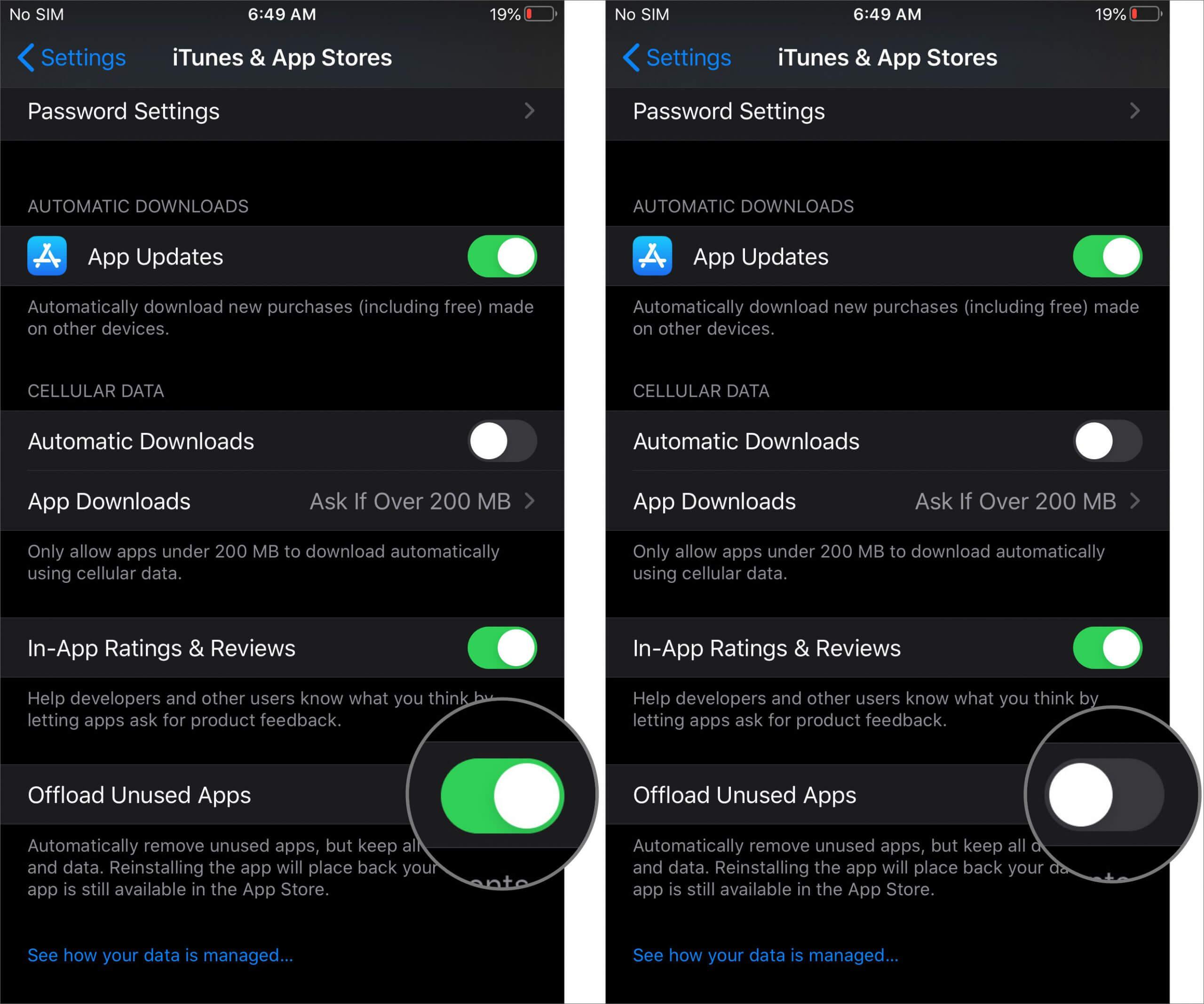 Turn Off Offload Unused Apps on iPhone or iPad