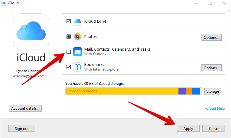 Turn Off-On iCloud Contacts, Calendar and Tasks on Windows PC