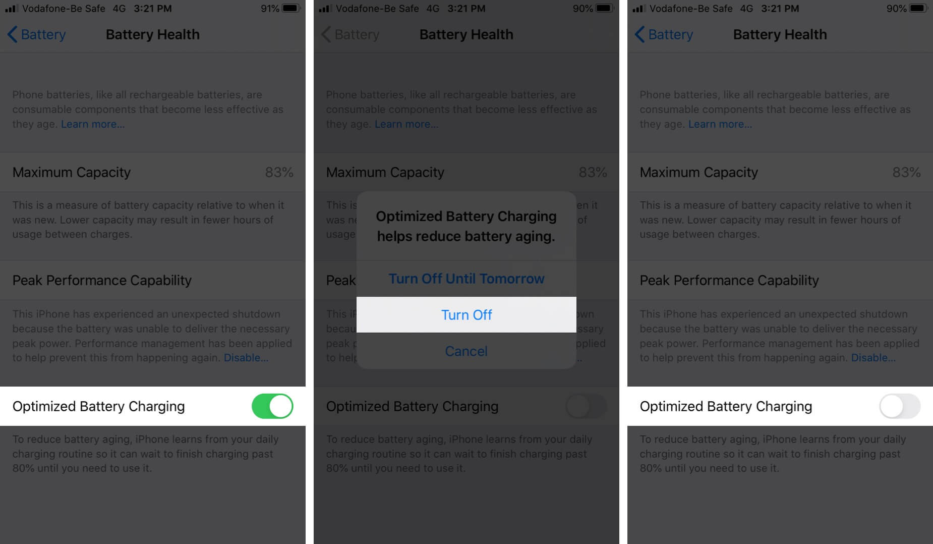 Turn Off Optimized Battery Charging on iPhone