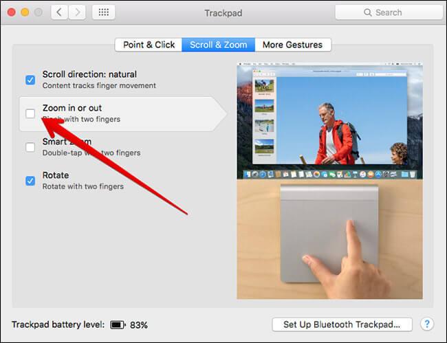 Turn Off Pinch to Zoom Gesture in Mac OS X El Capitan