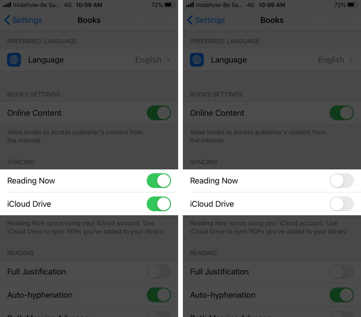 Turn Off Reading Now and iCloud Drive Sync on iPhone