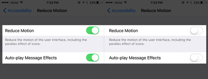 Turn Off Reduce Motion and Auto play Message Effects on iPhone 7 Plus