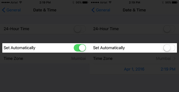 Turn Off Set Automatically Time and Date on iPhone