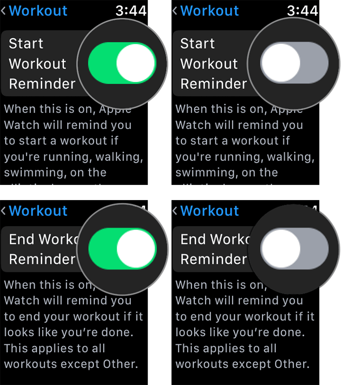 Turn Off Start-End Workout Reminders