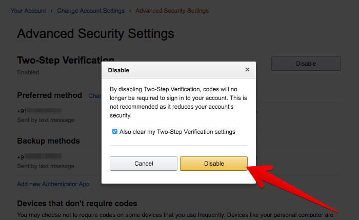 Turn Off Two-Step Verification in Amazon
