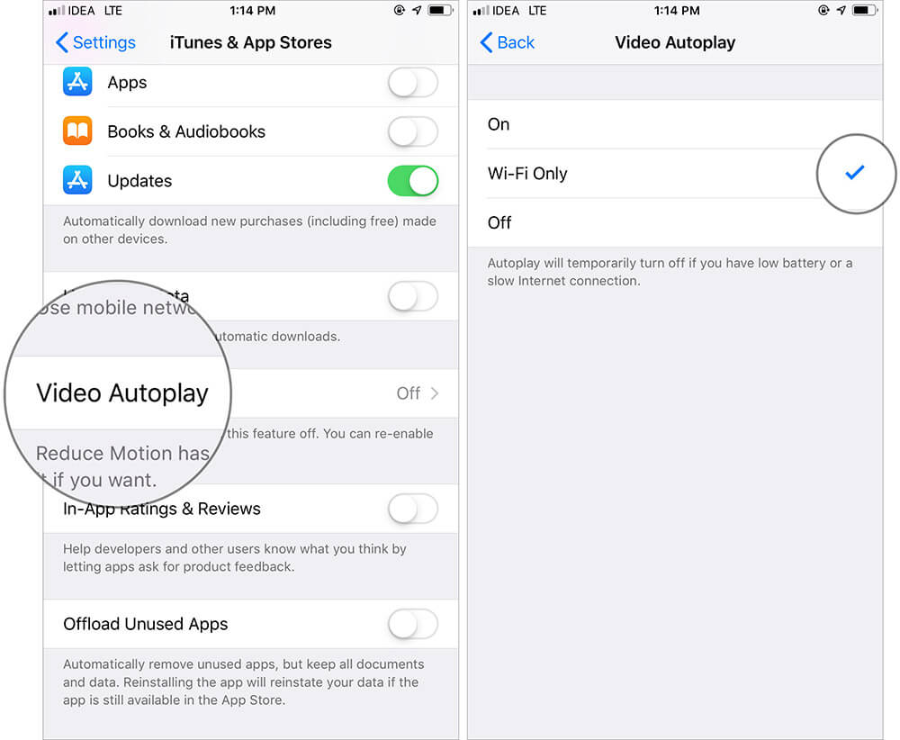 Turn Off Video Auto-play on iPhone