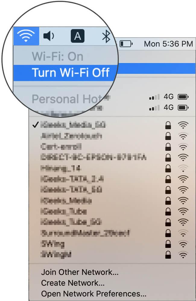 Turn Off Wi-Fi in macOS