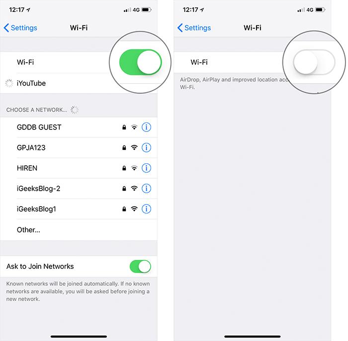 Turn Off WiFi in iOS on iPhone