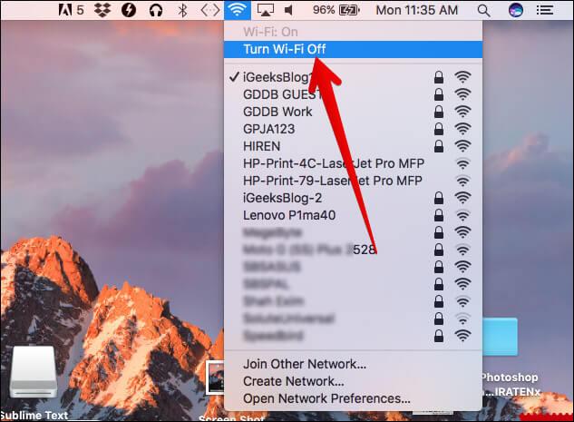 Turn Off WiFi on Mac