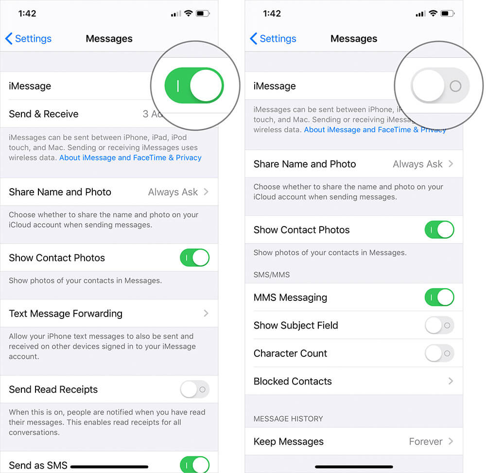 Turn Off iMessage on iPhone or iPad
