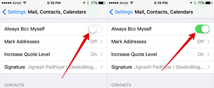Turn On BCC in Mail App on iPhone