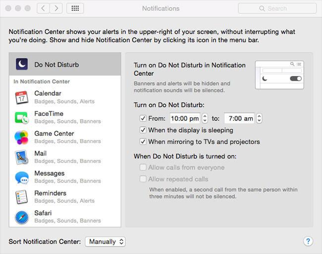 Turn On Do Not Disturb on Mac