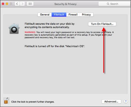 Turn On FlieVault on Mac