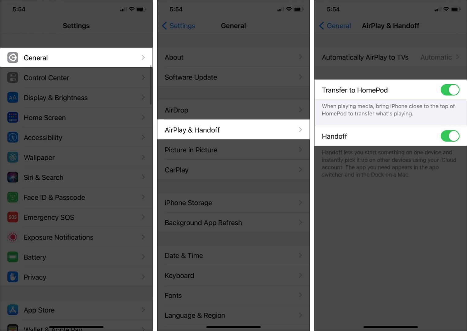 Turn On Handoff between iPhone and HomePod