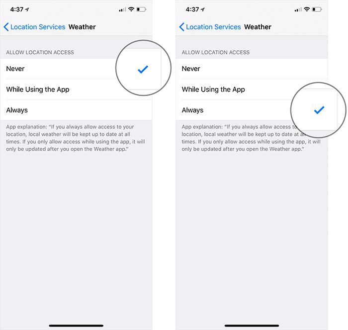 Turn On Location Service for Weather on iPhone