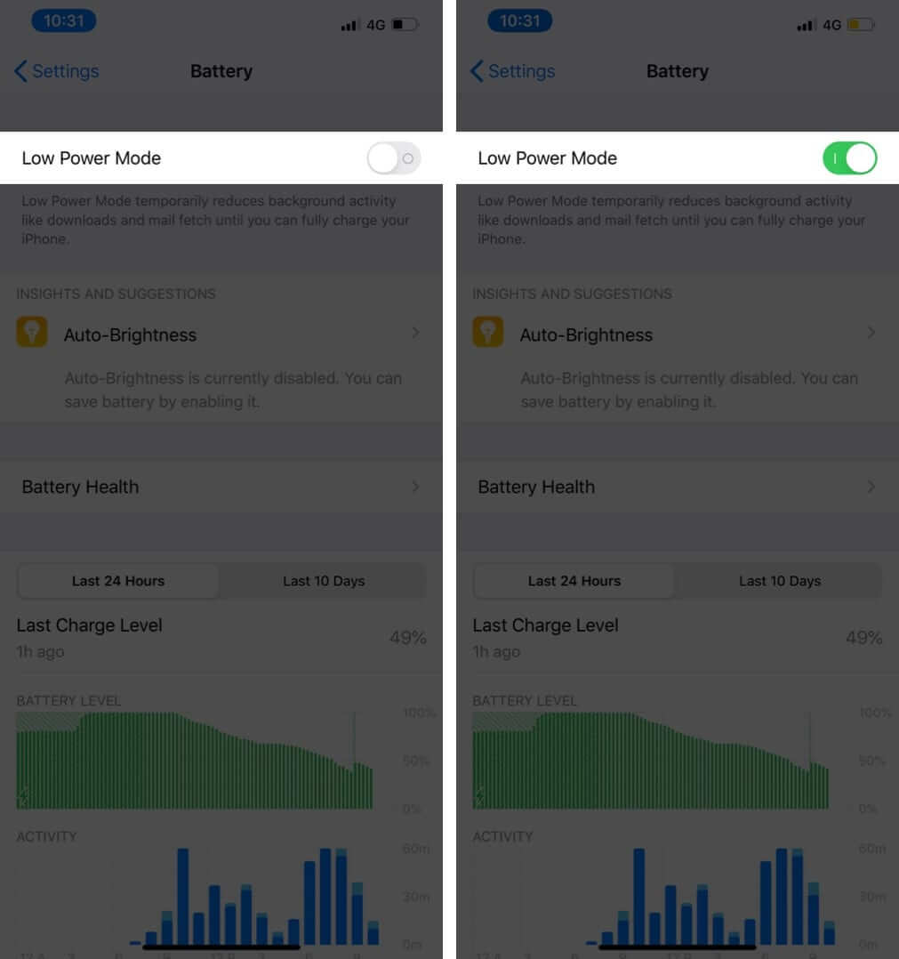 Turn On Low Power Mode on iPhone