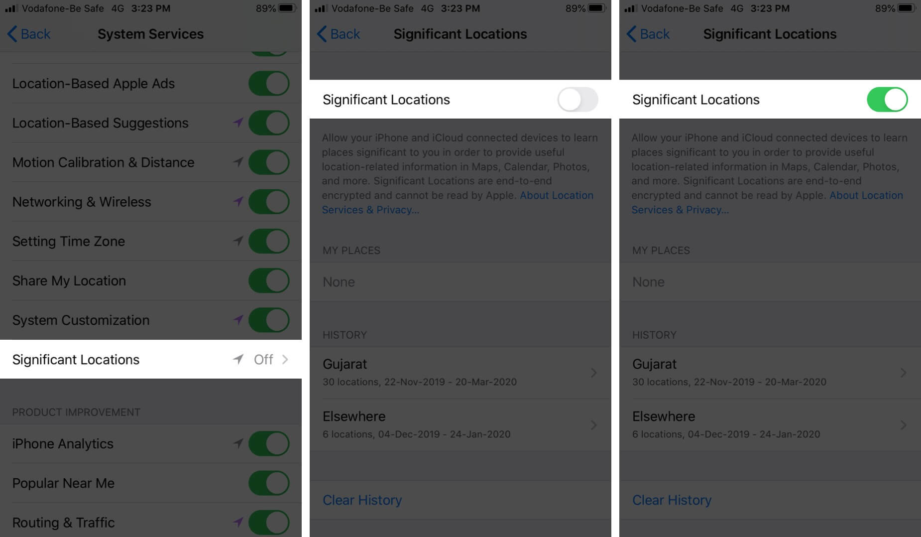 Turn On Significant Locations on iPhone