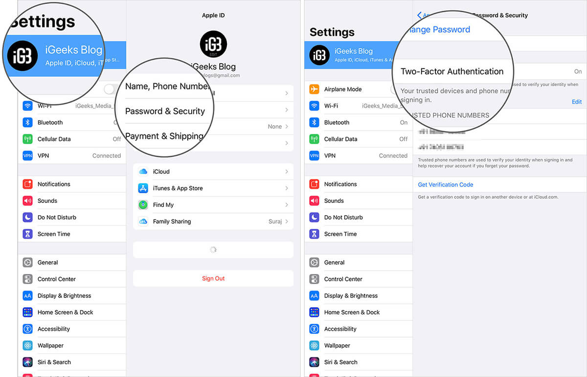 Turn On Two-Factor Authentication on iPad