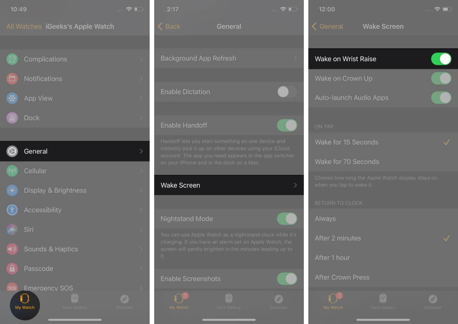 Turn On Wake Screen in Watch app on iPhone