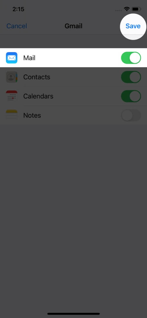 Turn Toggle ON and Tap on Save All Gmail Account in iPhone Mail App