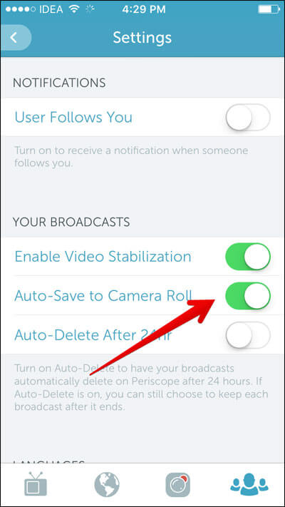 Turn it on, Auto-Save to Camera Roll under Your Broadcast