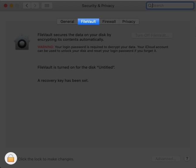 Turn off File Vault Encryption on Mac