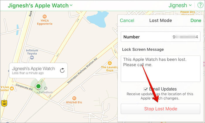 Turn off Lost Mode on Apple Watch