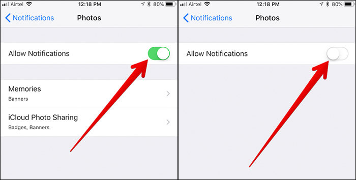 Turn off Notifications from All Shared Photo Streams on iPhone and iPad