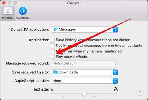 Turn off Sounds from Messages on Mac OS X