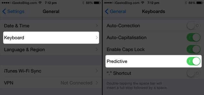 Turn on Predictive Keyboard on iPhone