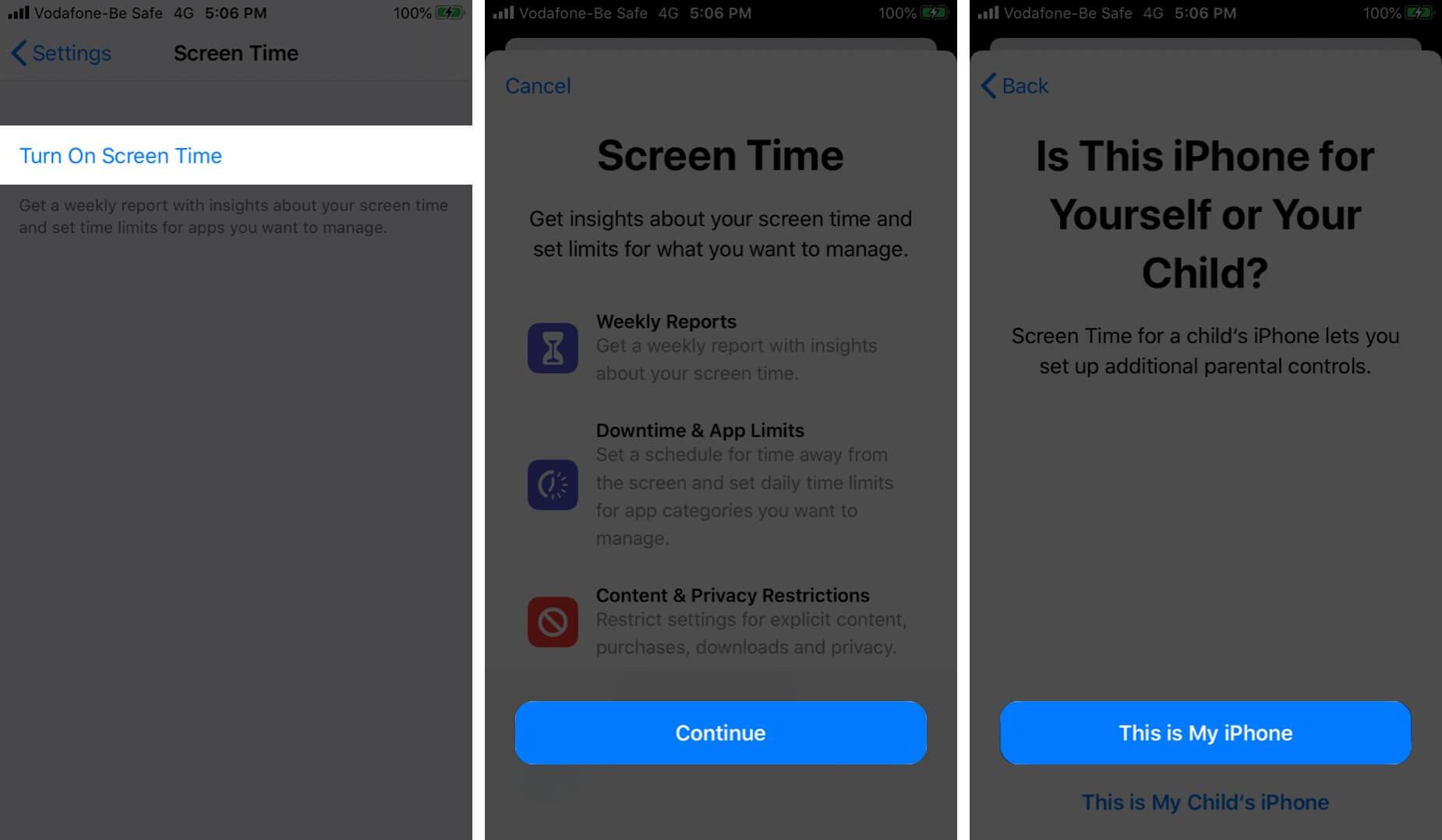 Turn on Screen Time on iPhone in iOS 13