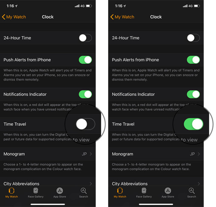 Turn on Time Travel in iPhone Apple Watch App