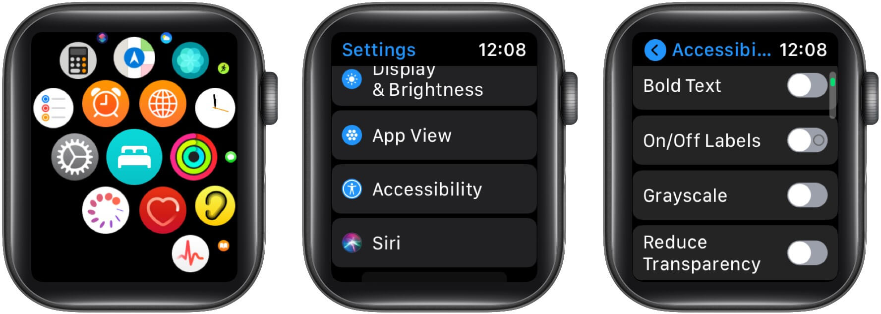 Turn-on bold text and other text settings on your Apple Watch