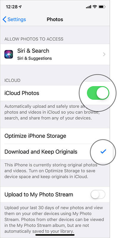 Turn on iCloud Photos on iPhone and iPad