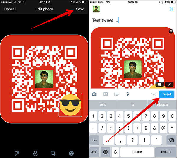 Tweet with Emoji on QR Code from iPhone