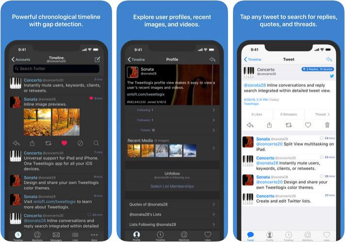 Tweetlogix iPhone and iPad App Screenshot