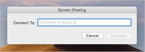 Type Apple ID of person whose Mac you want to connect to