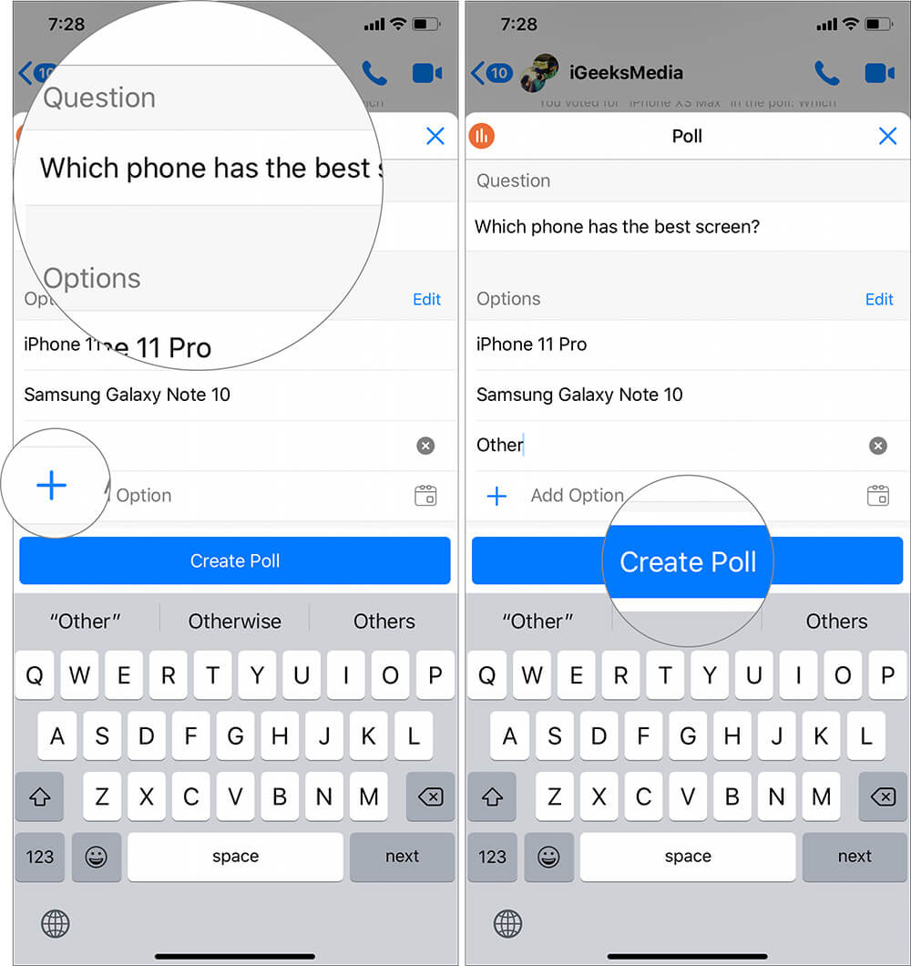 Type Question and add more options to Create Poll in Facebook Messenger Group