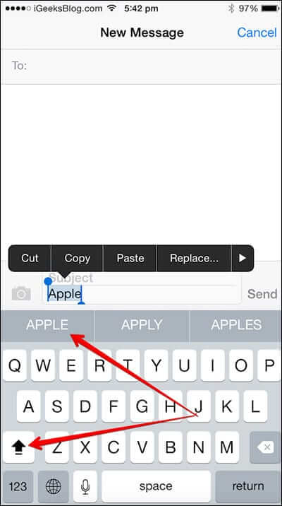 Type Word in Caps on iPhone