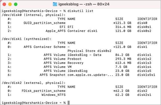 Typediskutil list in Mac Command Line