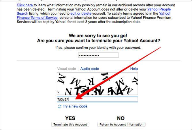 Type in CAPTCHA code