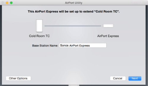 Type in a name for the AirPort Express under Base Station Name