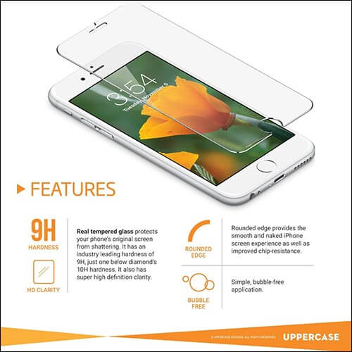 UPPERCASE iPhone 6s Plus Tempered Glass Screen Protector
