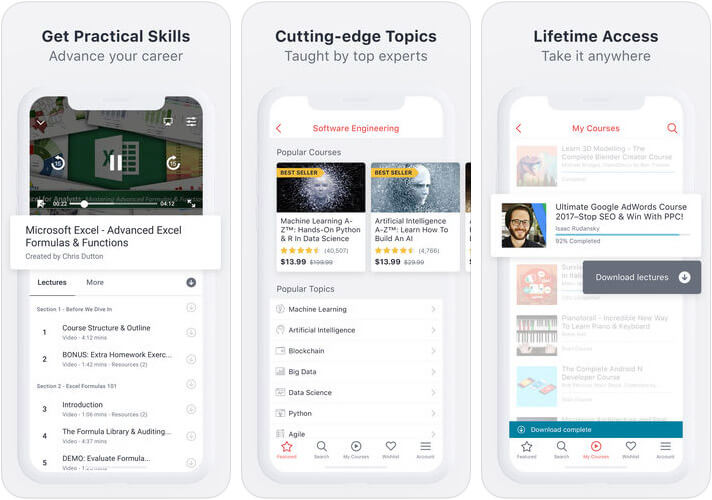 Udemy Online Courses iPhone and iPad App Screenshot