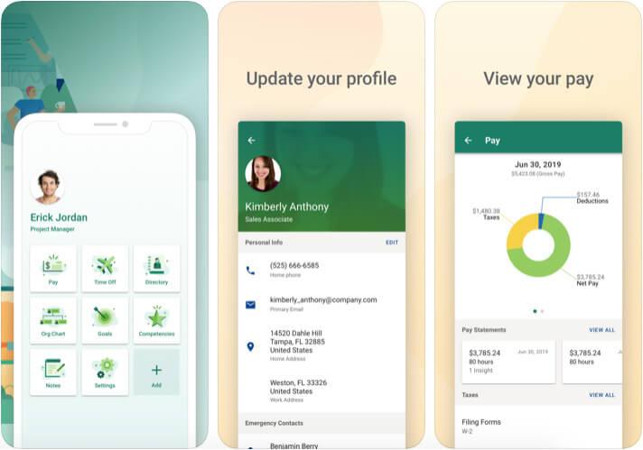 UltiPro iPhone and iPad HR Management App Screenshot