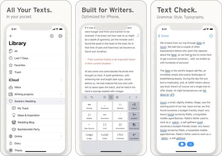 Screenshot der Ulysses-Blogging-App