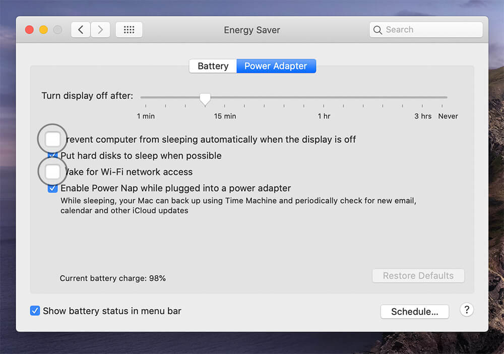 Uncheck Options in Energy Saver Window on Mac